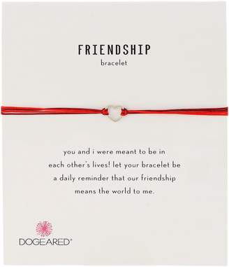 Dogeared Dogea Friendship Small Open Heart with Mix String Sterling Silver Bracelet
