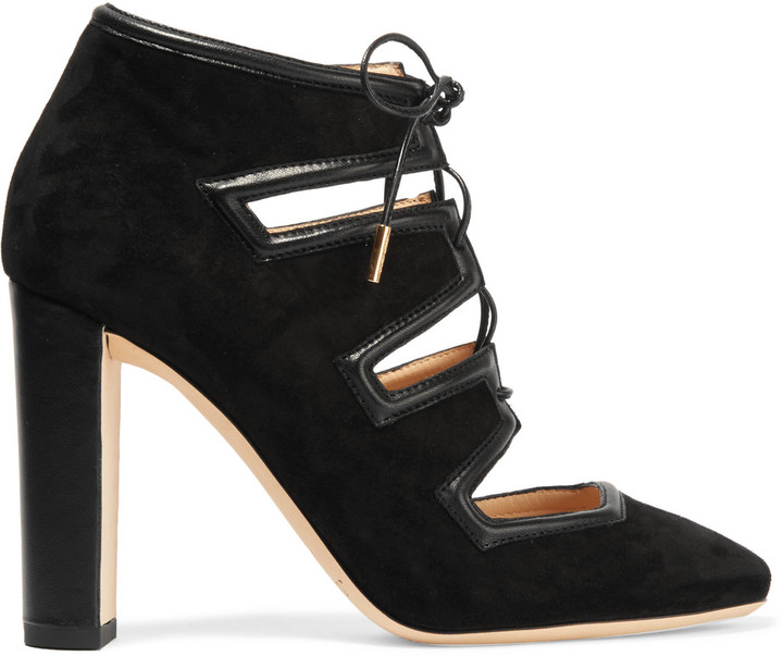 Jimmy Choo Jimmy Choo Latch leather-trimmed suede pumps