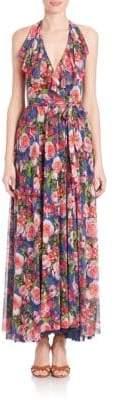 Fuzzi Ruffled Belle-Print Maxi Dress
