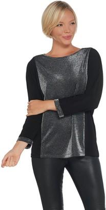 Susan Graver Color-Block Metallic and Liquid Knit Top