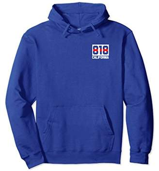 California 818 Area Code Thin Red Line Firefighter Hoodie