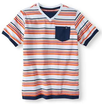 Cherokee Boys' Stripe V-Neck Pocket T-Shirt
