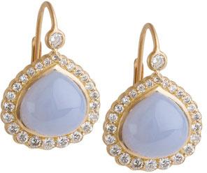 Jamie Wolf Diamond Edge Bisou Earrings with Blue Chalcedony