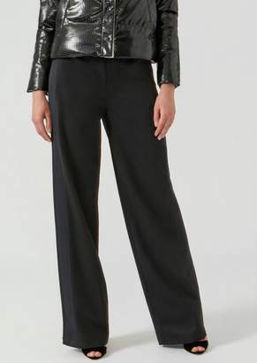 Emporio Armani Palazzo Pants In Wool Blend Gabardine With Drawstring Waist
