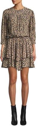 Zadig & Voltaire Rooka Shirred Leopard-Print Short Dress
