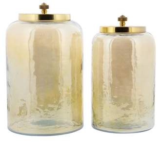 DecMode Decmode Modern 9 And 10 Inch Gold-Finished Glass Jars With Metal Lids, Gold - Set of 2