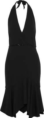Halston Wrap-effect Bead-embellished Cady Halterneck Dress