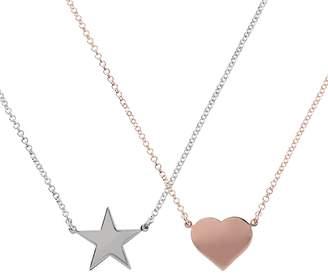 Bronzo Italia Heart & Star Motif Set of 2 Necklaces