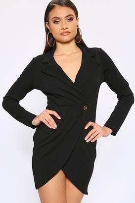 I SAW IT FIRST Black Long Sleeve Blazer Dress