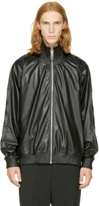 Miharayasuhiro Black Faux-Leather Track Jacket $695 thestylecure.com