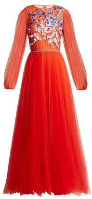 Carolina Herrera Embroidered Tulle Gown - Womens - Orange