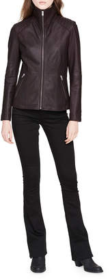 Andrew Marc Classic Quilted-Shoulder Leather Moto Jacket