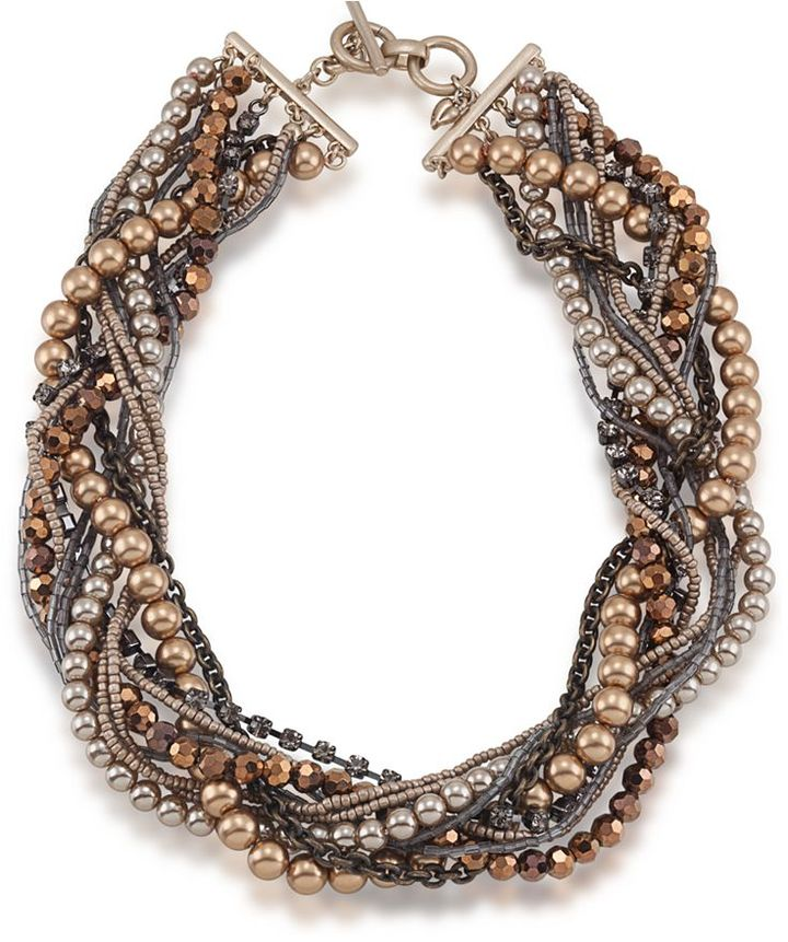 Carolee Necklace, Glass Pearl Woven Collar Necklace