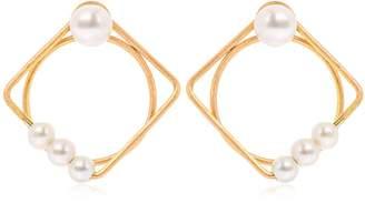 Lia Di Gregorio Quadrato Cerchio Gold Earrings W/ Pearls