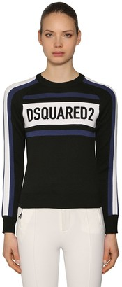 DSQUARED2 VELVET LOGO PATCHES WOOL BLEND SWEATER