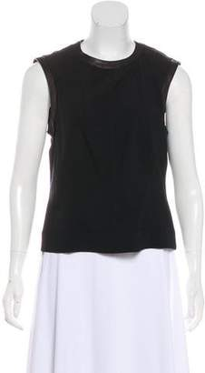 DKNY Leather-Trimmed Sleeveless Top w/ Tags