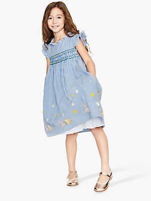 Boden Mini Girls' Frill Sleeve Dress, Light Blue