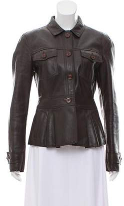 Burberry Leather Pointed Collar Jacket