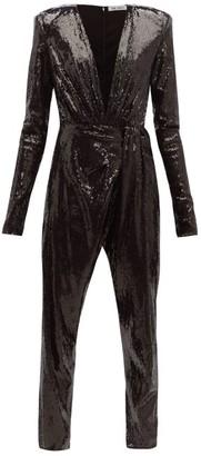 ATTICO The Sequinned V Neck Jumpsuit - Womens - Black