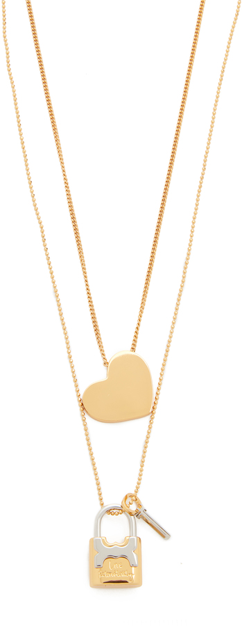 Tory BurchTory Burch Metal Heart And Padlock Necklace Set