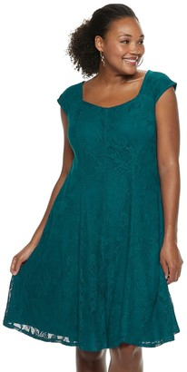 Plus Size Suite 7 Lace Fit & Flare Dress