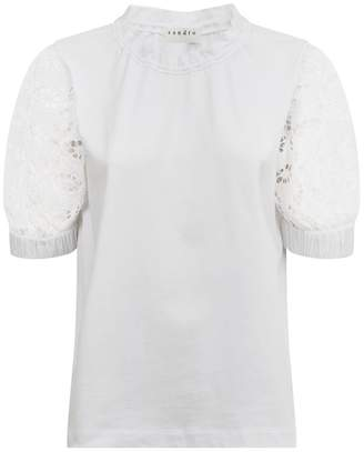 Sandro Lace Sleeve T-Shirt