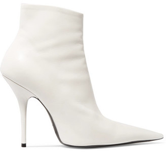 Balenciaga - Leather Ankle Boots - White $1,015 thestylecure.com