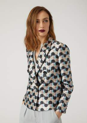 Emporio Armani Double-Breasted Geometric Jacquard Print Jacket