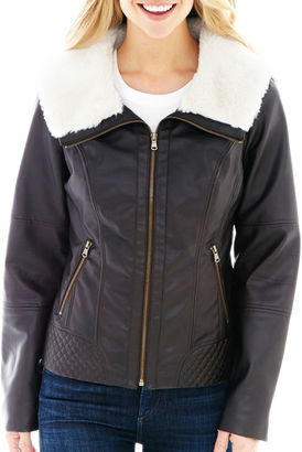 A.N.A a.n.a Faux-Leather Scuba Jacket $150 thestylecure.com