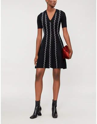 Maje Rigole zig-zag knitted mini dress