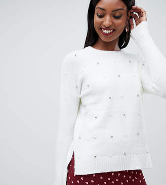 Fashion Union Tall tall all over embellished sweater with step hem