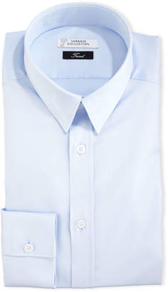 Versace Button-Front Textured Dress Shirt, Light Blue