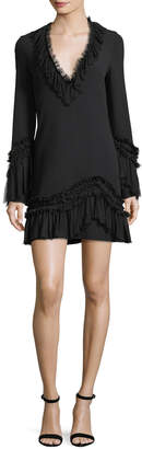 Alexis Azur Deep-V A-line Dress w/ Ruffled Trim
