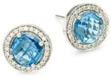 18K White Gold, Blue Topaz & Diamond Stud Earrings