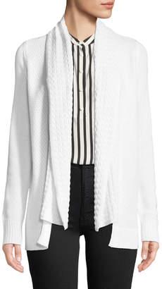 Lilla P Mixed-Stitch Open-Front Cotton-Cashmere Cardigan