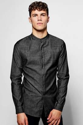 boohoo Long Sleeve Denim Chambray Western Shirt