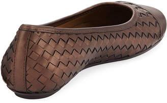 Neiman Marcus Silex Napa Leather Woven Flat, Castagna Pearl
