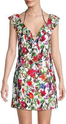 Tahari Floral-Print Shift Cover-Up Dress