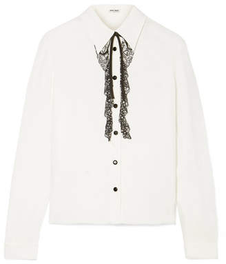 Miu Miu Crystal-embellished Lace-trimmed Crepe De Chine Blouse - Ivory