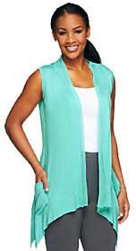 LOGO by Lori Goldstein V-Neck Vest withChiffon Trim