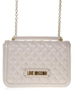 73339bd4826 Love Moschino Quilted Ivory Faux Leather Shoulder Bag