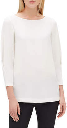 Lafayette 148 New York Caddie Boat-Neck Blouse w/ 3/4-Sleeves