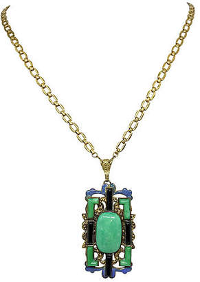 One Kings Lane Vintage Czech Molded Glass Pendant Necklace - Little Treasures