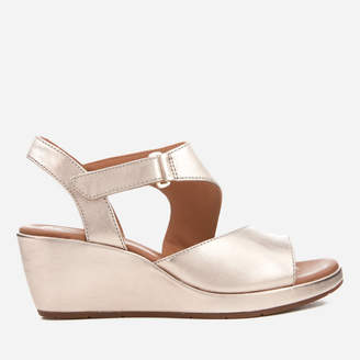 Clarks Women's Un Plaza Sling Leather Wedged Sandals