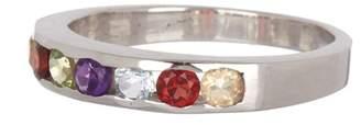 Forever Creations USA Inc. Sterling Silver Half Eternity Multicolor Semi Precious Gemstone Ring