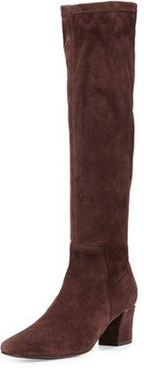 Delman Cyera Stretch-Suede Knee Boot, Dark Brown $598 thestylecure.com