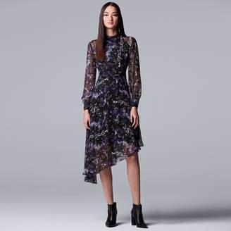 Vera Wang Women's Simply Vera Mockneck Asymmetrical-Hem Chiffon Dress