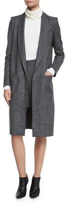Alice + Olivia Kylie Long Shawl-Collar Jacket, Charcoal $995 thestylecure.com