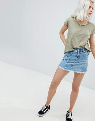 Pull&Bear Frayed Edge Denim Mini Skirt