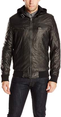 X-Ray Men's Slim Fit Faux Leather Moto Jacket with Quilting and Sherpa Lining